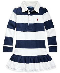 Polo Ralph Lauren WHITE/FRENCH NAVY Little Girls Rugby Jersey Dress, US 5