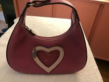 Small LIZ CLAIBORNE Pink Purse or Makeup Handbag w/ HEART Window Frame Leather