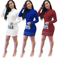 ❤Women Mock Neck Long Sleeve Beaded Solid Bodycon Evening Party Club Mini Dress❤
