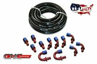 -8AN AN-8 AN8 Push Lock Fuel Hose Black 20FT / Push On Loc Fittings Kit Set
