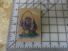 Cherished Teddies Enesco wood mounted rubber stamp HOOKED bear fishing