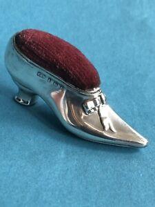 Engl. Nadelkissen / pin cushion als SCHUH, 925er Silber, L&S, Birmingham 1905