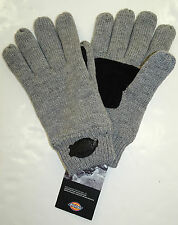 DICKIES Knit Gloves w/Suede Patch  Fleece Lined Grey/Black  One Size Fits Most