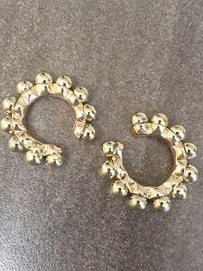 Non Pierced C-shaped Gold Alloy Beaded Ear Cuff ☆ 1 Piece
