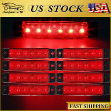 "8x 3.8"" LED Thin Clearance Light Red Trailer Truck Lorry Exterior Marker Lights"
