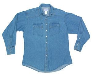 ROCKMOUNT RANCH WEAR Blue Denim Stitch Pearl Snap Western Mens Shirt USA  M 0370
