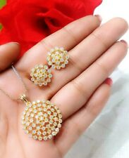 Indian Bollywood Gold Plated Pendant Set With Earring Wedding Lady Party Jewelry