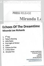 Miranda Lee Richards Echoes Of The Dreamtime rare promo w/press release alt folk