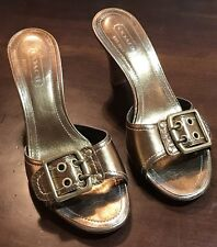 "COACH, Size 7***, Gold-Tone Slides w/3"" Stacked Wood Heels and Buckle Accent"