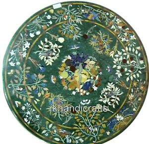 """36"""" Green Marble Dining Table Top Hand Inlaid Coffee Table with Elegant Design"""