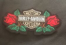 harley davidson embroidered roses and logo patch