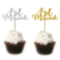 5pcs Eid Mubarak Cake Toppers Ramadan Party Decor Muslim Cake Picks Baking