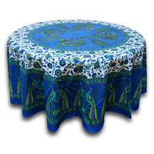 Cotton Peacock Floral Tablecloth Round 72 Inches Blue Green