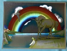 VINTAGE DUFEX FOIL ART PRINT RAINBOW UNICORN Made in ENGLAND NO FRAME