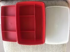 Tupperware Vintage Tuppercraft Red Divided Craft Storage Container Stow-N-Go 767