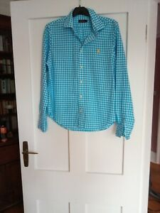 Polo Ralph Lauren ladies shirt white/turquoise check size L