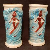 2 Vintage Trader Dicks Ceramic Tiki Mugs Cups Surfer Girl The Nugget Reno NV