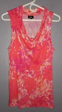 Mossimo Sleeveless Tunic Tank Top Multi-color Floral Waterfall Neck sz Small