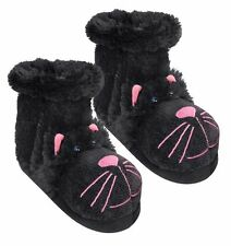 Aroma Home FUN FOR FEET SLIPPERS SOCKS Boots UK Size 4-7 - BLACK CAT