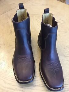 New Brunello's Men's Western Ankle  Leather Boots BQ0205 FOSSIL CAFE
