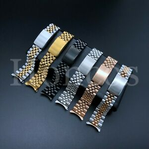 20mm Stainless Steel Curved End Jubilee Watch Band Bracelet Fits Rolex 2021