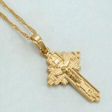 Orthodox Russia Greek Ukraine Greece Cross Christian Necklace Chain Pendant Gold