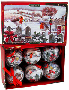 White Robin Baubles In Snow Gift Box - Christmas Tree Decorations (Set of 6)