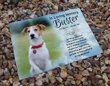 Jack Russell pet dog, in loving memory, ceramic headstone gravestone tile.