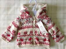 Baby Girls Cute Knitted Fair Isle Hooded Christmas Cardigan ~ Reindeer & Robins