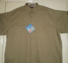 KING GEE KHAKI WORKCOOL SHORT SLEEVE SHIRT WITH COOLING VENTS SIZE 4XL NEW