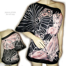 Multicolor Black Pink White Abstract Art Batwing Top Blouse One Shoulder Tops XS