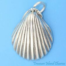 SCALLOP or CLAM SEA SHELL Beach .925 Sterling Silver Charm