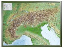 Real 3d Relief Map Alps with Wood Frame Landscape 77x57cm #100552r