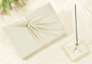 Ivory Sash Wedding Guest Book and Pen Set with Diamonds Reception Signatures