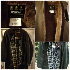Barbour Beaufort Jacket Vintage Wachsjacke grün mit Futter! C44/112cm L/XL