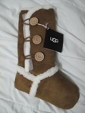 """UGG Chestnut Bailey Button Suede Sherpa Christmas Holiday Stocking 21"""" ***NEW***"""