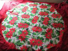 New listing Cute Holiday Party Vintage Red Fringe Holly Green Berry White Round Table Cloth
