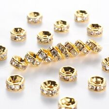 100PC Golden Austira Clear Crystal Rhinestone Rondelle Spacer Beads DIY  6mm
