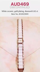 PANDORA GENUINE GOLD PLATED WHITE CERAMIC WATCH WITH DIAMOND - 812022WH
