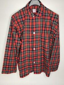 Men's Vintage Brooks Brothers Red Plaid Pajama Top Shirt •Size M *EUC