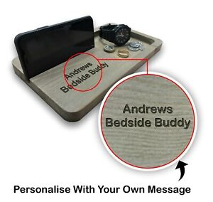 Personalised Wooden Bedside Buddy Phone Holder Money watch Bedside Table Gift