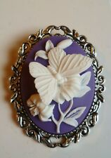 Stunning Purple and White Butterfly Cameo Brooch Wedding Pin Pagan