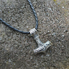 1pcs Mens Nordic Viking Mjolnir Pendant Leather Chain Myth Thors Hammer Necklace