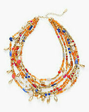 Chico's Women's AUSTYN MULTI-STRAND NECKLACE NWT 69 Orange BLUE GOLD