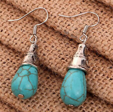 Women's Jewelry  Blue Turquoise Charm Silver Plated Drop Dangle Earrings Gift H7