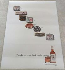 JIM BEAM KENTUCKY WHISKEY / 1991 MADE IN THE U.S.A POSTER MAN CAVE MINT