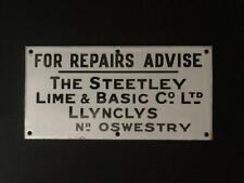More details for for repairs advice steetley lime basic co ltd enamel porcelain advertising sign
