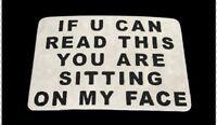 Funny Bar Joke Belt Buckle Sitting On My Face Fun Jokes Boucle de Ceinture