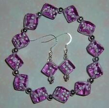 Purple Dice Jewelry Set! Bracelet & Earrings! Bunco/ Bunko/Casino Party! Gamers!