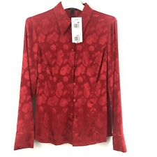 Escada Women Silk Blouse Red Floral Button Front Long Sleeves Size 34 US 4